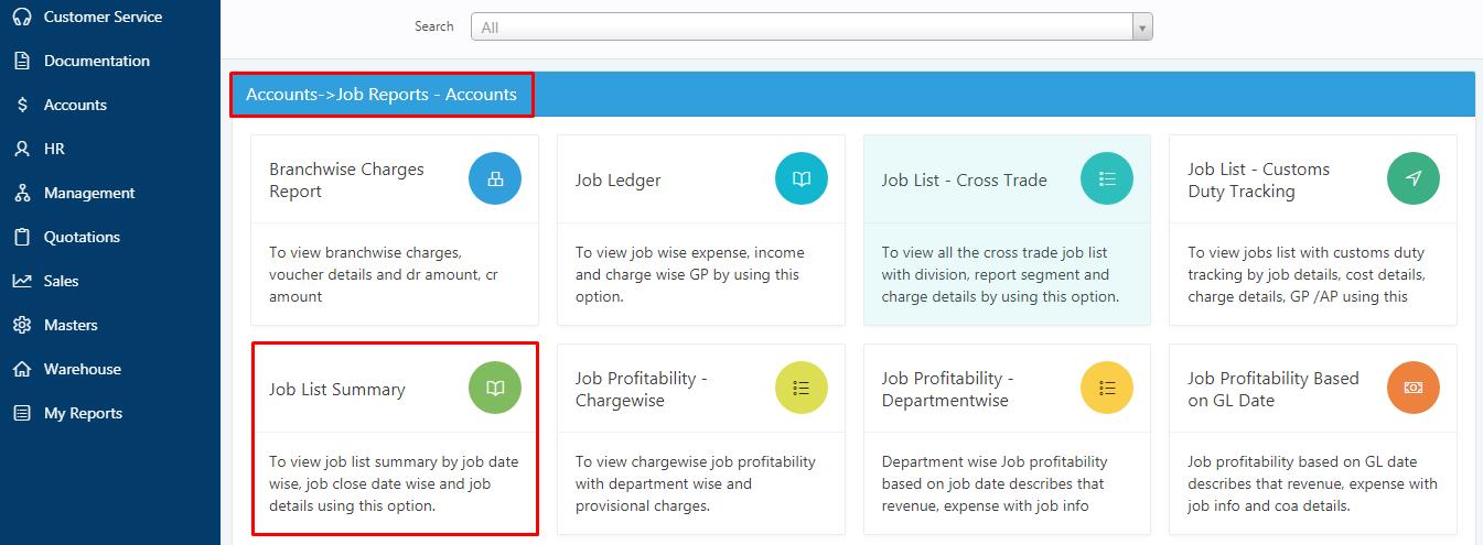 job list summary