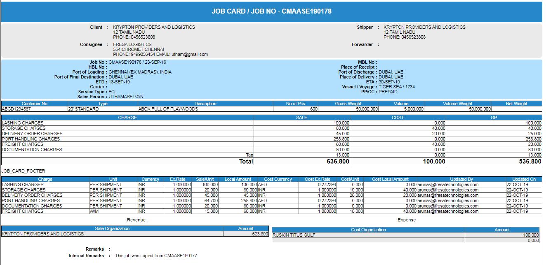 job card report