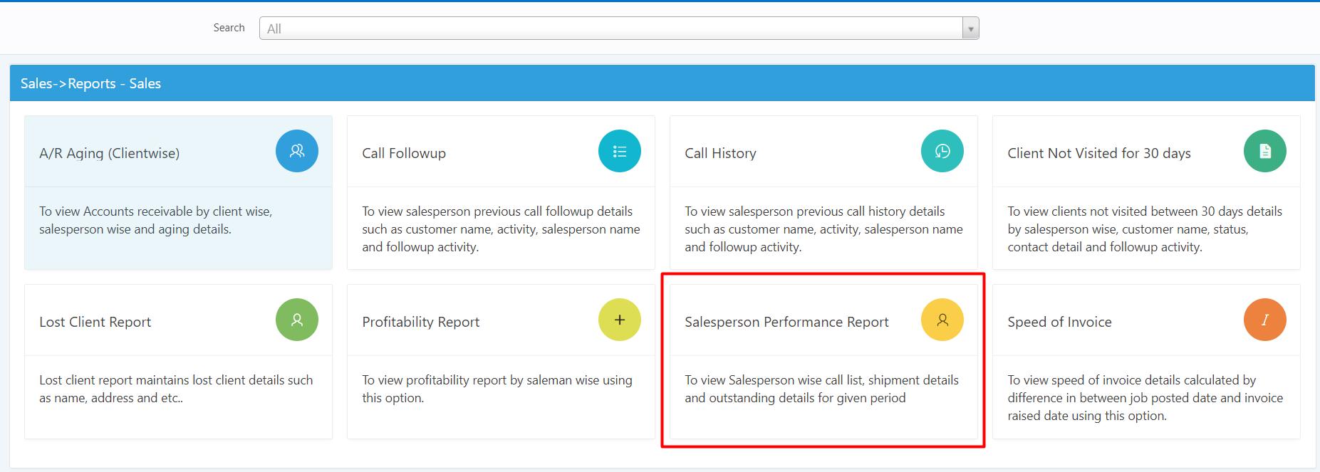SALESMAN PERFORMANCE REPORT