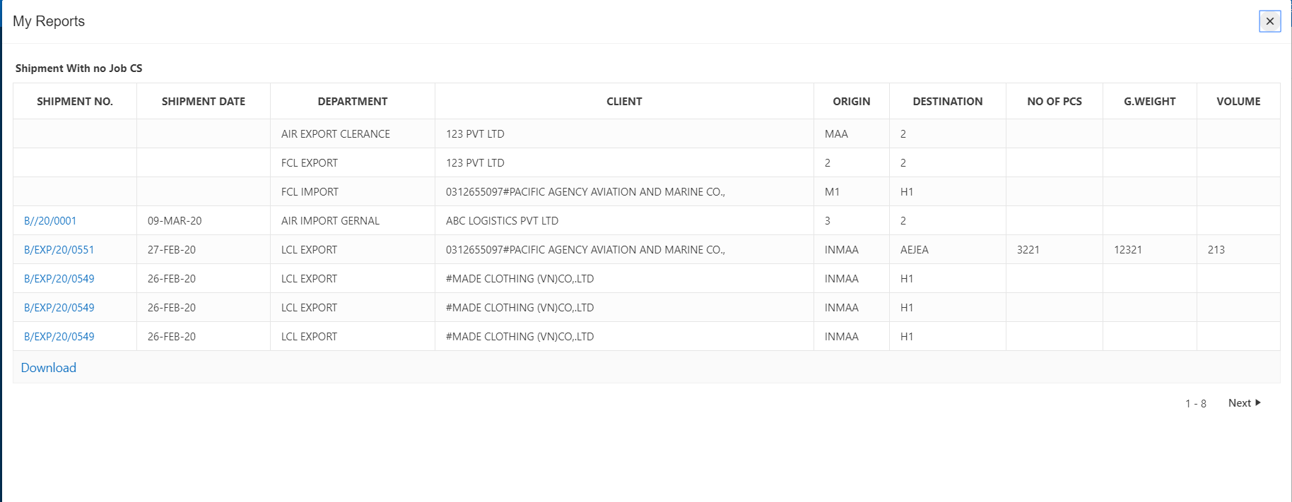 My Reports module