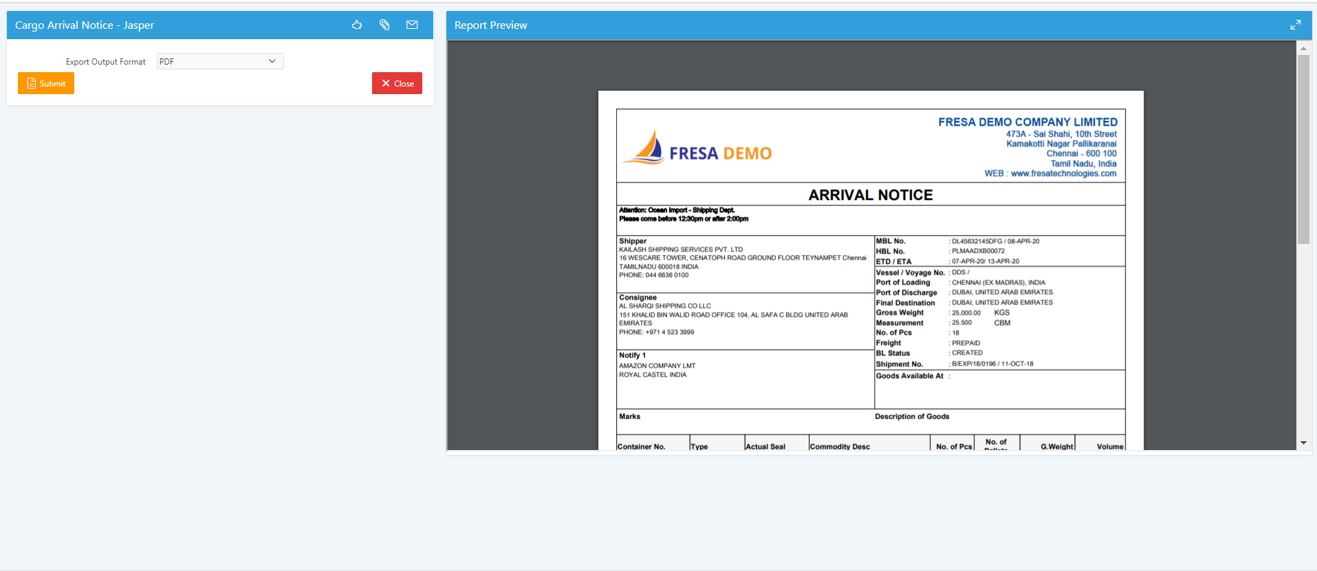 Cargo arrival notice