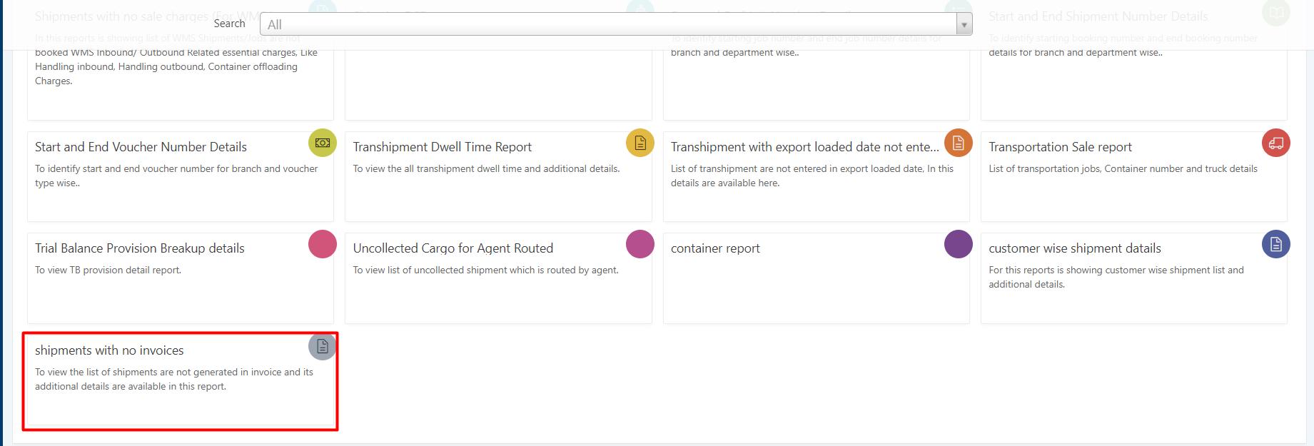 invoices report